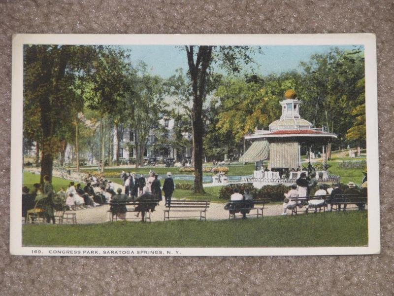 Congress Park, Saratoga Springs, N.Y., unused vintage card