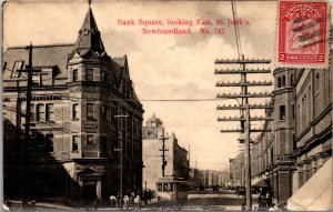 Newfoundland St John's Bank Square Postcard used 1910s RPPC Scott # 86 used