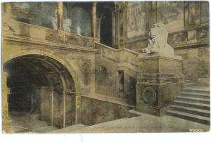 Grand Staircase in Public Library, Boston, Massachusetts, MA, 1918 Divided Back