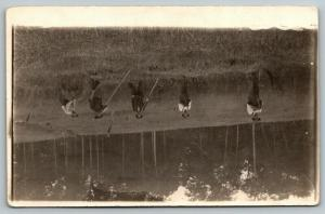 RPPC Five Hayseed Farmers w/Two-Handed Pitch Forks @ Hay Harvest Time~c1910 PC