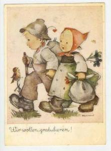 Hummel  two kids Walking, Pu 1954