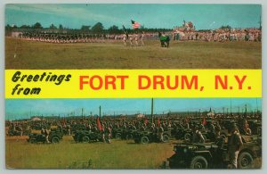 Fort Drum New York~Brigade Review~Vehicle Inspection~Jeeps 1950s Postcard
