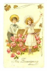 Two children greetings,Aus Funeigung, PU-1907