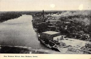 Des Moines Iowa~Des Moines River Bird's Eye View~Factories on Shoreline~c1910 Pc