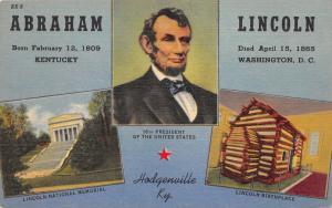 Abraham Lincoln~Memorial & Birthplace~Hodgenville Kentucky~1941 Postcard