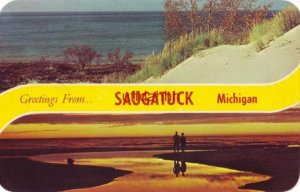 GREETINGS FROM SAUGATUCK MICHIGAN daytime and sunset views from Western Michigan