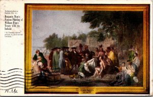 William Penn Treaty Benjamin West painting early c1905 postcard