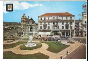 Coimbra Portugal Portagem Square PPC, with Tram & 1960's Cars