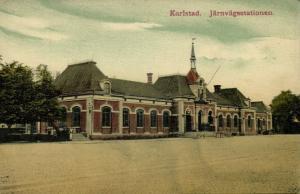 sweden, KARLSTAD, Järnvägsstationen, Railway Station (1910s)