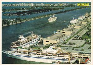 Cruise Ship Leaving Dodge Island Seaport Miami Florida
