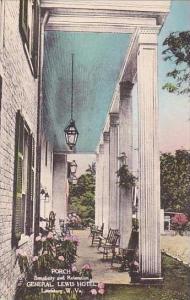 West Virginia Lewisburg General Lewis Hotel Porch Handcolored Albertype