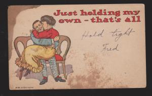 Comic Postcard - Woman & Man Just Holding My Own - Unused - Large Stain