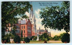 SAN ANTONIO, Texas TX ~ Campus OUR LADY of the LAKE COLLEGE 1947 Linen Postcard