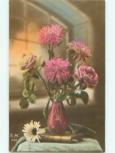 tinted rppc c1910 BEAUTIFUL FLOWERS AC9244