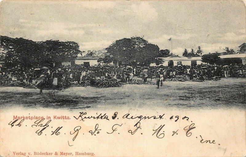 Ghana Gold Coast Market place in Kwitta postcard