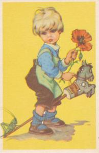 Blond Boy Eyeing Grasshopper on the End of His Toy Horse 1920-40s