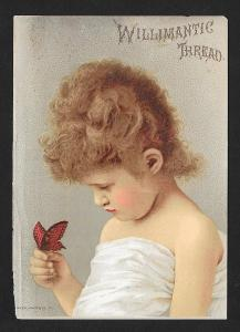 VICTORIAN TRADE CARD Willimantic Thread Girl w/Butterfly