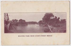 1908 BEATRICE Nebraska Nebr Postcard BOATING PARK from BRIDGE Boat River