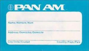 PAN AMERICAN WORLD AIRWAYS VINTAGE AVIATION TAG