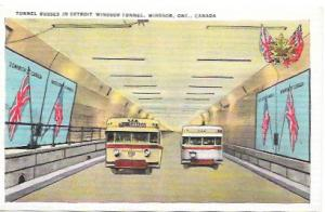 Tunnel Buses in Detroit-Windsor Tunnel, Windsor, Ontario, Canada.