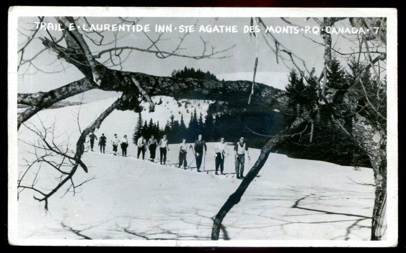 1443- STE AGATHE DES MONTS Quebec 1940s Skiing Laurentide. Real Photo Postcard