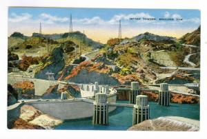 Intake Towers, Boulder Dam, Nevada, unused Linen Potcard