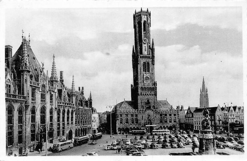 Belgium Brugge Grote Markt, Bruges Grand'Place, auto, buses, cars