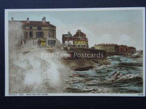 Essex WALTON ON THE NAZE Rough Sea c1930's Postcard by Salmon 9116