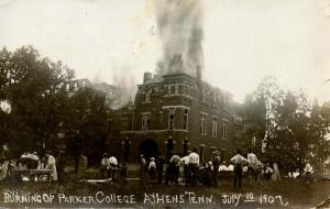 TN - Athens. July 10, 1907. Burning of Parker College (Fire Disaster).  *RPPC...