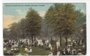 Lincoln Park Sunday Afternoon Crowd Chicago Illinois 1912 postcard