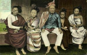 philippines, Camp Vicars, Mindanao, Moro Datto and Wifes (1910s) Postcard