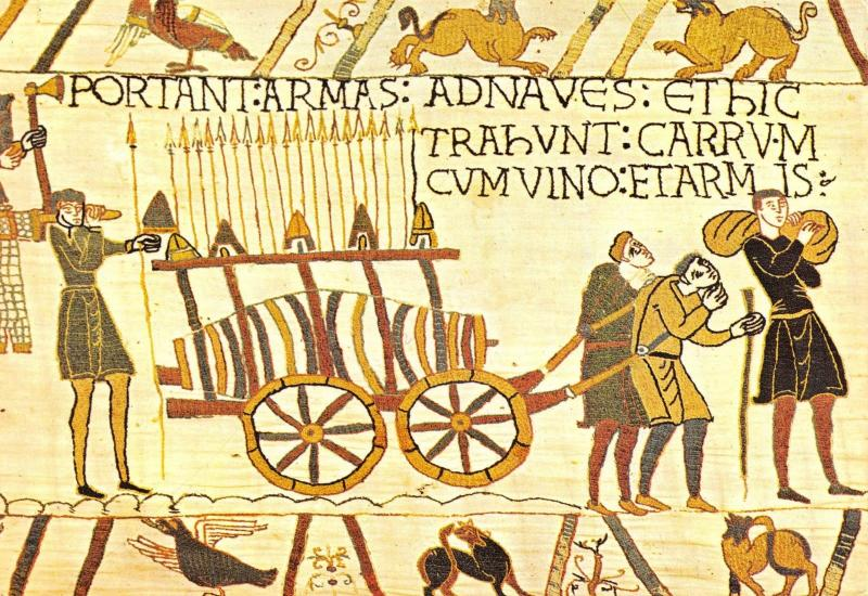 Postcard Bayeux Tapestry, Weapons & Wines are Carried / Taken on Board #633