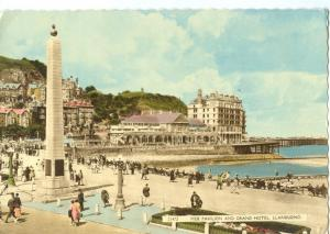 Pier Pavilion and Grand Hotel, Llandudno old unused Postcard