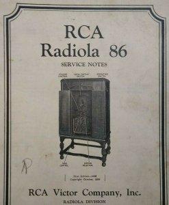 RCA Radiola 86 Vintage Original 1930 Service Notes Manual Radio Victor 24 Pages