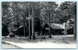 RPPC  AU TRAIN, Michigan MI ~ DICK PERRY'S RESORT ca 1950s Alger County Postcard