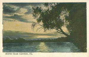 Canton, Pennsylvania Scene Lake, Trees Vintage White Border Postcard