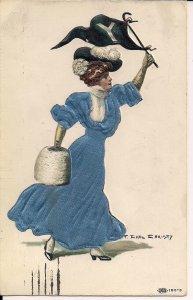 COLLEGE GIRL, Yale University, 1908 Pennant, Glitter, Beautiful Woman Christy CT