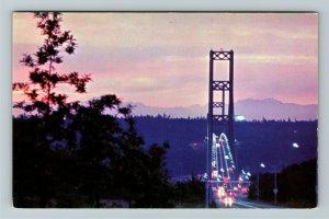 Tacoma WA- Washington, Narrows Bridge, Olympic Mountains, Chrome Postcard