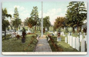 Trenton NJ~Riverview Cemetery~Soldiers Plot~Old Tombstones~Flags on Path~1908