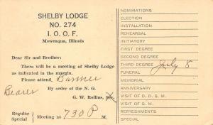 Moweaqua IL~IOOF Lodge #724 (Shelby) 1947 Postal~Rollins~Third Degree Vote