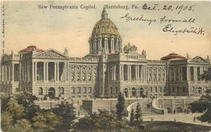c1905 Hand Colored Postcard; New Pennsylvania Capitol Harrisburg PA Dauphin Co.