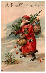 Santa Claus , tree and bag of Toys , Red Robe