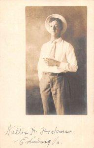 Edinburg Virginia Man Wearing Hat Real Photo Vintage Postcard AA22201