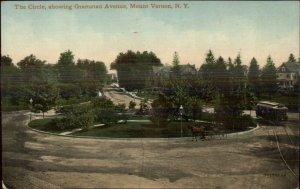 Mt. Mount Vernon NY The Circle Trolley c1910 Postcard