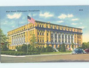 Unused Linen HIGH SCHOOL Williamsport Pennsylvania PA L9831@