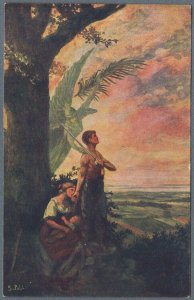 Old Fantasy Postcard Warrior With Family Protected by Guardian Angel by S. Pohl