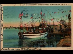 Lakeland FL Swift River MA Tarpon Springs Sponge Dock Ship Vintage Postcard E01