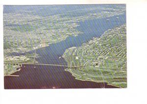 MacKay Bridge, Nice Aerial View of Halifax and Dartmouth, Nova Scotia..