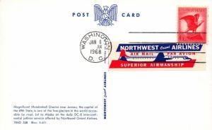 Mendenhall Glacier, Alaska, Postcard, Used with Northwest Orient Airlines Label