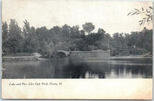 Peoria, Illinois Postcard Lake & Pier, Glen Oak Park Stone Bridge 1908 Cancel